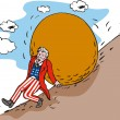 Uncle Sam with Boulder — Stock Vector #28935667