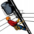 Power Lineman Telephone Repairman Electrician — Imagen vectorial