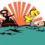 Man Sinking Dollar Sign — Stock Vector #28930823