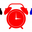 Alarm Clock Black Red Blue — Stock Vector