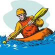 Kayak Paddler — Stock Vector