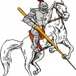 Knight on Horse with Sword — Stock Vector