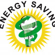 Energy Saving Label Lightbulb — Stockvector #28934213