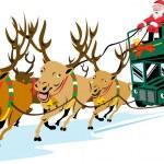 Santa Claus Driving Bus — Stock Vector