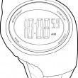 Sports Watch Line Drawing — Vector de stock