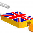 Padlock and Key British Flag Design — Stockvectorbeeld