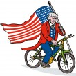 Uncle Sam Riding Bike — Stock Vector