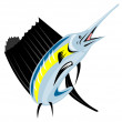 Sailfish Fish Jumping Retro — 图库矢量图片