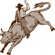Rodeo Cowboy Bull Riding — Stock Vector #28937395