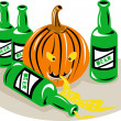 Beer Bottle and Pumpkin — Stock Vector