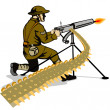 Soldier Aiming Machine Gun — Stock Vector