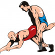 Постер, плакат: Wrestlers Fighting Retro