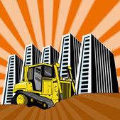 Escavatore scavatore meccanico retrò — Vettoriale Stock