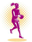 Netball Player Jumping — Stock Vector