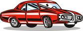 Coche clásico roja — Vector de stock