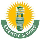Rótulo lâmpada de poupança de energia — Vetor de Stock