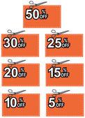 Schaar snijden coupon procent ondertekenen — Stockvector