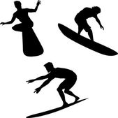 Surfers Silhouettes — Stock Vector