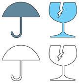 Umbrella and Broken Cracked Glass — Stock Vector