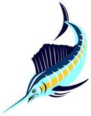 Sailfish fisk hoppning retro — Stockvektor