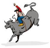 Rodeo Cowboy Bull Riding Retro — Stock Vector