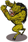 Wild Pig Boar Man Retro — Stock Vector