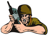 Soldier with Radio — Stock Vector