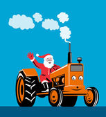 Santa Claus Driving Tractor — Stock Vector