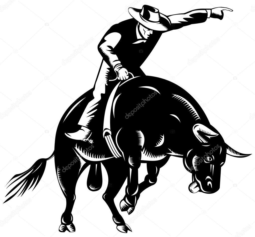 retro de equita u00e7 u00e3o do rodeo cowboy touro vetor de stock bull riding clip art free rodeo bull riding clip art