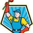 Super Plumber Wielding Plunger Pentagon Cartoon — Stock Vector