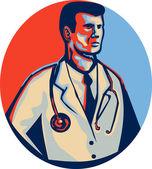 Doctor Stethoscope Standing Retro — Stock Vector