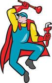 Super klempner kolben schraubenschlüssel cartoon — Stockvektor