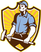 Worker Wielding Sledgehammer Crest Retro — Stock Vector