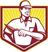 Tiler Plasterer Mason Masonry Worker Retro — Stock Vector