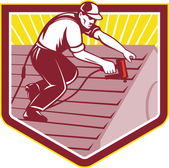 Roofer Roofing Worker Retro — Stock Vector