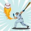 Постер, плакат: Baseball Player Batting Ball Flames