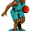Stock Vector: Basketball Player Dribbling