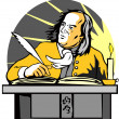 Ben Franklin Writing Retro — Stock Vector