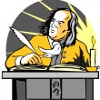 Ben Franklin Writing Retro — Imagen vectorial