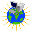 Computer on Top of Globe — Stock Vector