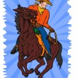 Stock Vector: Cowboy on Horse with Lasso