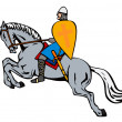 Stock Vector: Crusader on Horse
