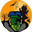 Frankenstein Haunted House Retro — Stock Vector