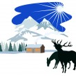 House Snow Mountains Deer Silhouette — Stock Vector
