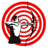 Archer Bow Arrow Target — Stock Vector