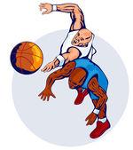 Basketball Players Rebound — Stock Vector