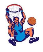 Basketspelare dunking — Stockvektor