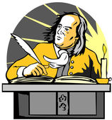 Ben Franklin Writing Retro — Vetorial Stock