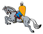 Crusader on Horse — Stock Vector