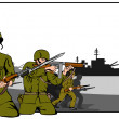 Stock Vector: Marines Attacking